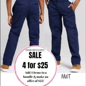 4/$25 NWT Cat & Jack navy blue straight leg chino twill khaki pants